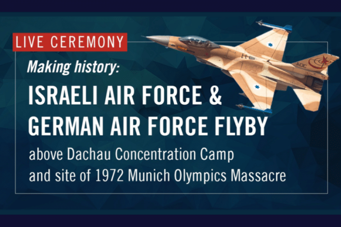 WATCH: Commanders of Both Israeli and German Air Forces Fly Over Camp Memorial Outside Munich