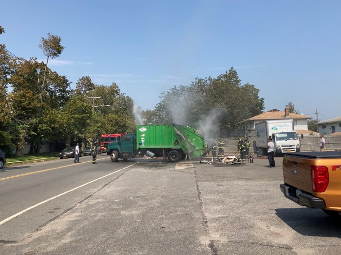 WATCH: Garbage Truck Fire in Woodmere