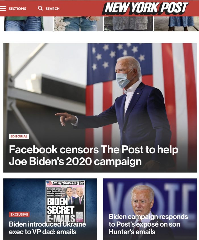 Twitter and Facebook block NY Post article exposing Hunter Biden's emails with Ukraine Exec