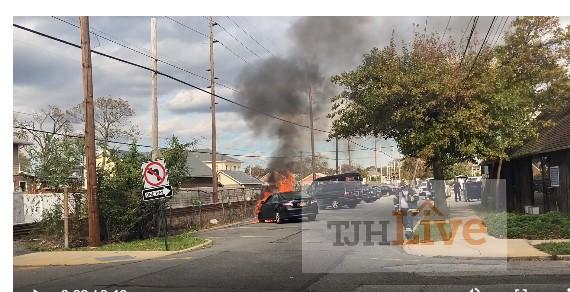 Car on fire in Cedarhurst