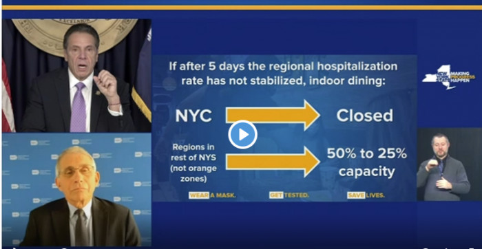 Cuomo to close indoor dining if hospitalization rates don't go down